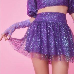 Sugar Thrillz 'Broken Spell' Purple Glitter Skirt